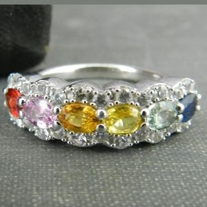 925 ZMR Sterling Silver Mother's Ring 6 colors EUC